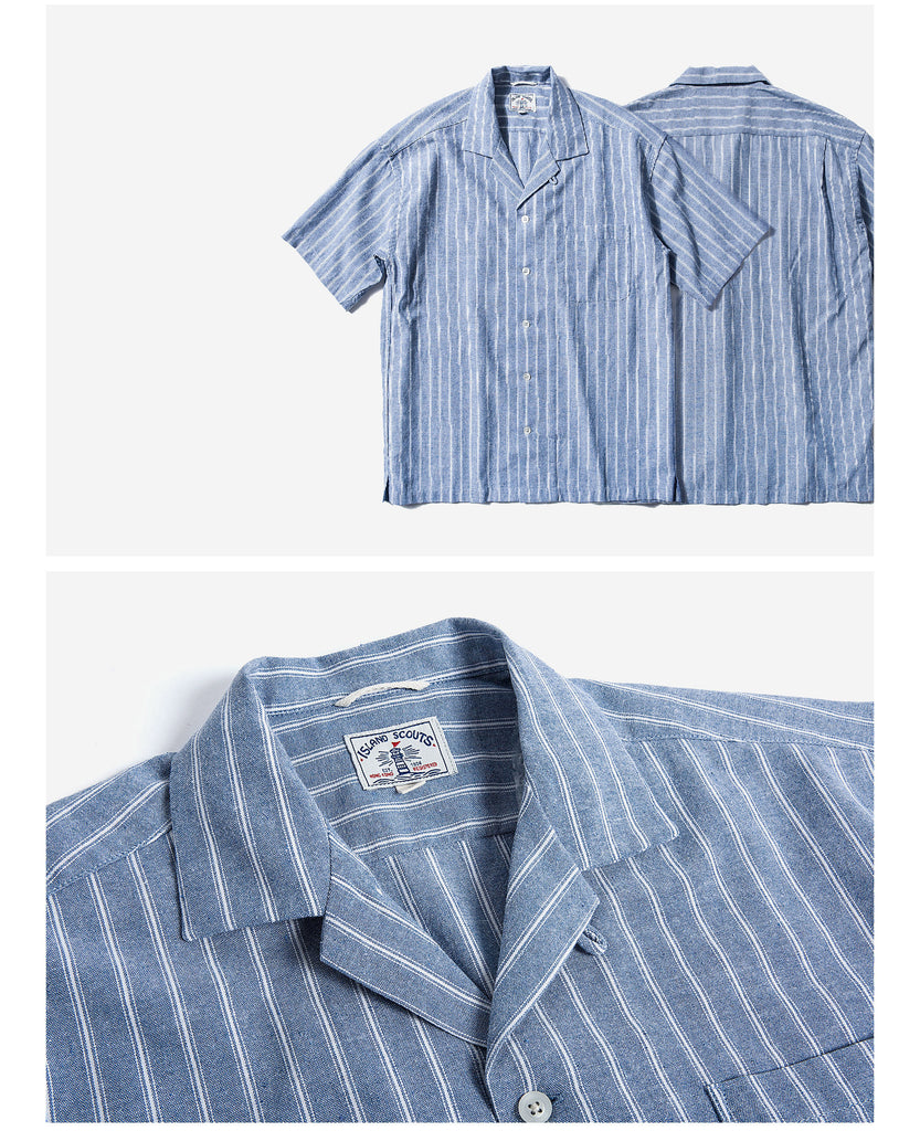 Denim Mixed Linen Stripes Palaka Shirt - White
