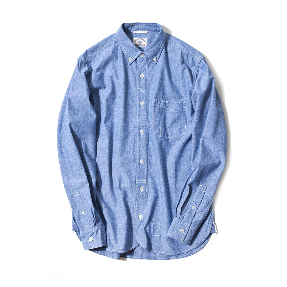 Japanese Charmbray Long Sleeve Worker Shirt In Blue