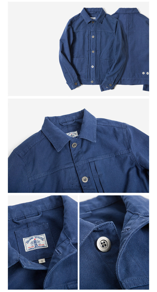 Old Textile Cotton Canvas 1960 Trucker Jacket In Blue