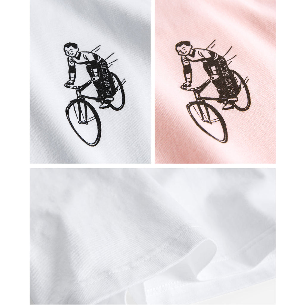 Island Scouts Tubular Cotton Tee In Vintage Bicycle Print in White/Pink