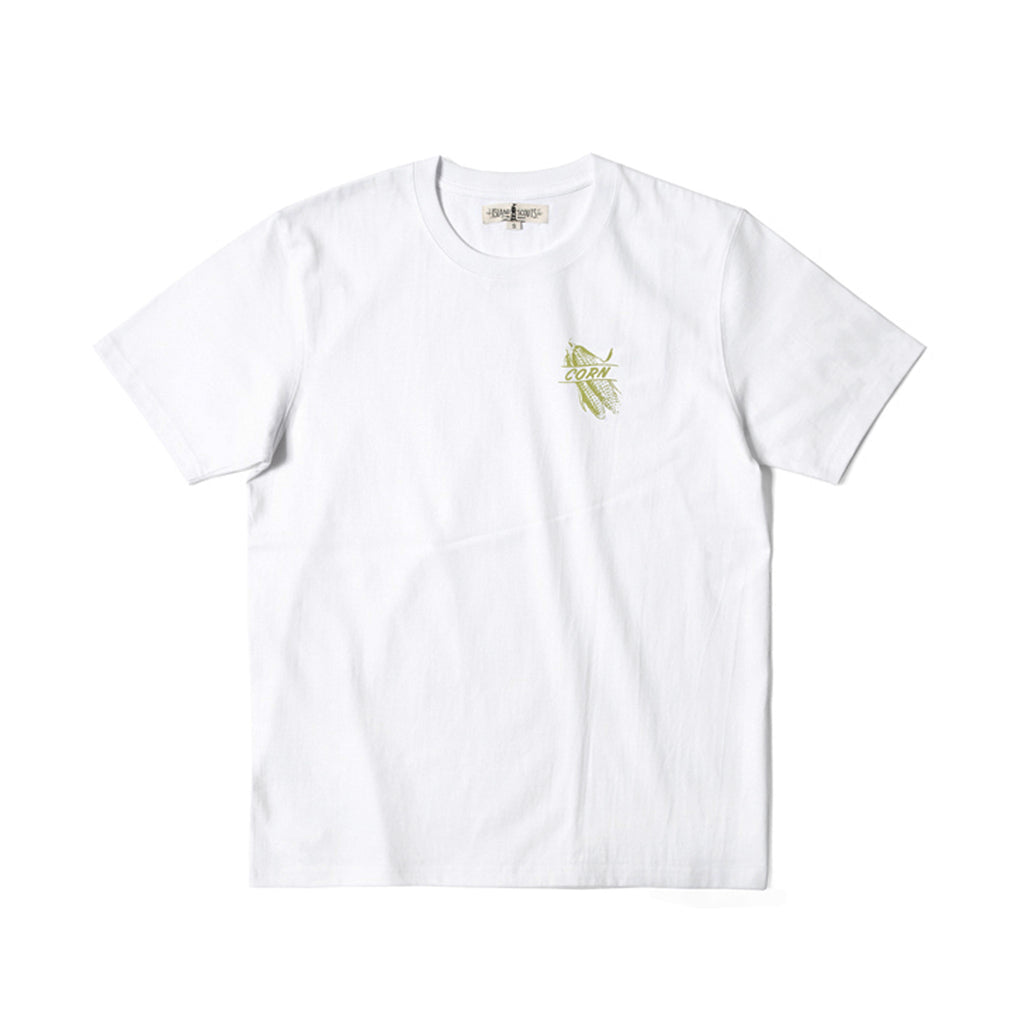 280g Cotton Tubular Tee With Corn Print in White