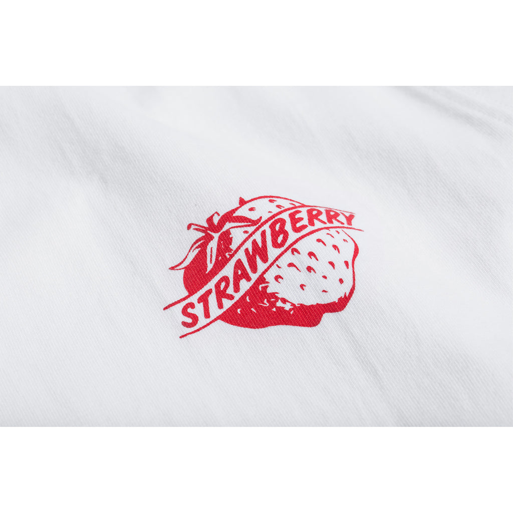 280g Cotton Tubular Tee With Strawberry Print in White