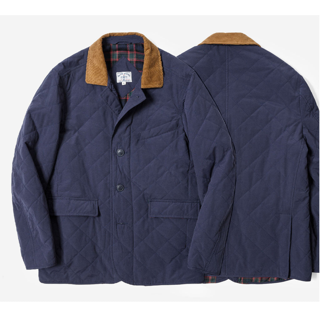 Water Repellent Quilted Blazer Jacket - Navy