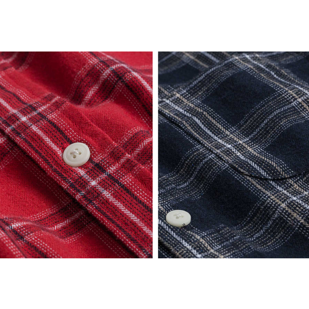 Cotton Flannel Elbow Patch Checks Shirt - Navy