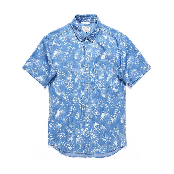 Leaf Discharge Print Denim Short Sleeve Shirt / Light Blue
