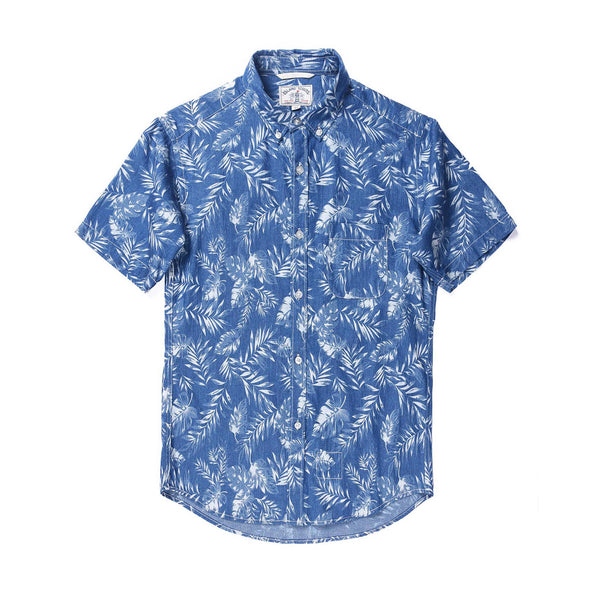 Leaf Discharge Print Denim Short Sleeve Shirt / Dark Blue
