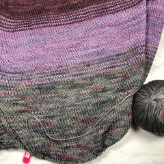 Cabernet, Shrieking Violet, Brooklyn on Squish Wish Sock; Pattern: So Faded
