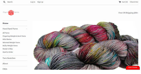 Dye is Cast Yarns website screenshot