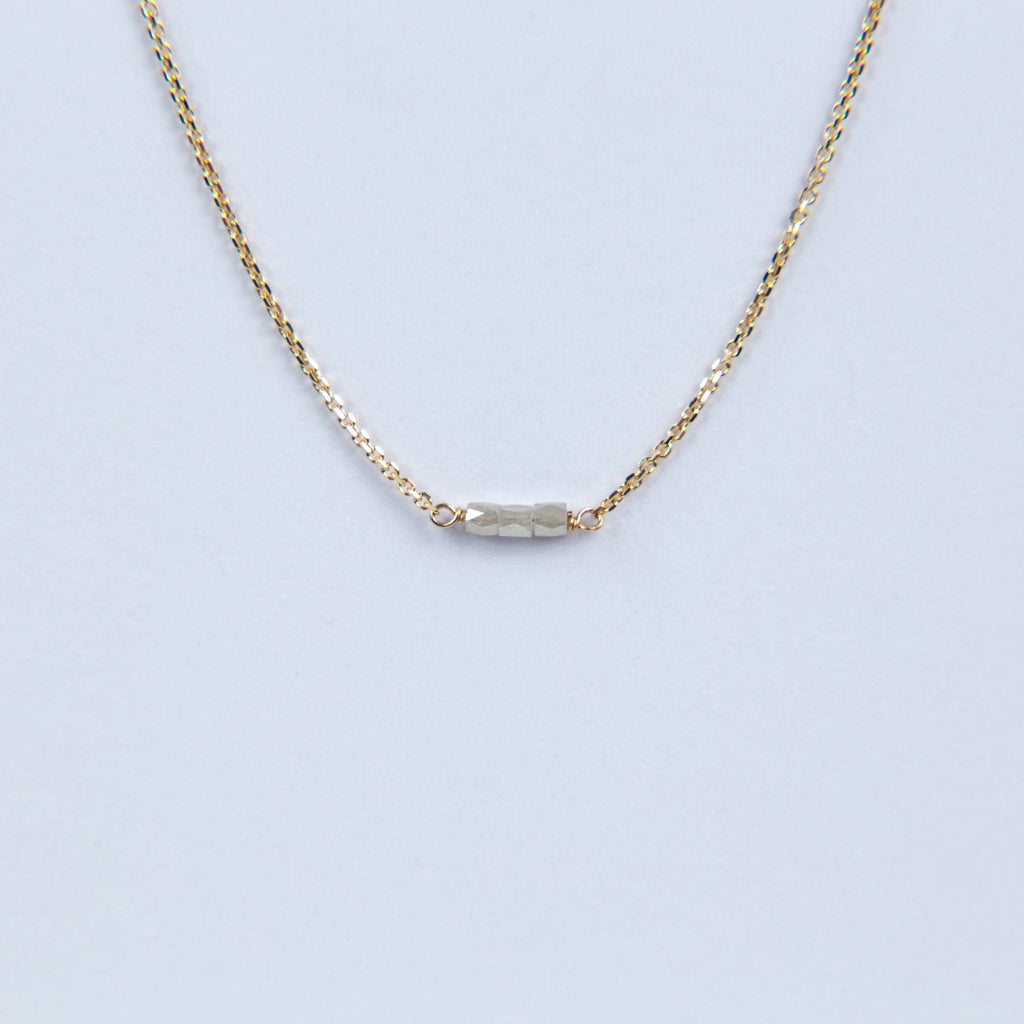 Carla Caruso Slinky Grey Diamond Bar Necklace