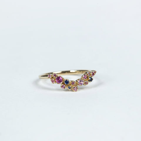 N+A Jewelry: Curved Grand Cluster Ring with Sapphires