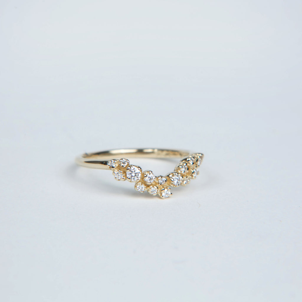 N+A Jewelry: Curved Grand Cluster Ring with Diamonds