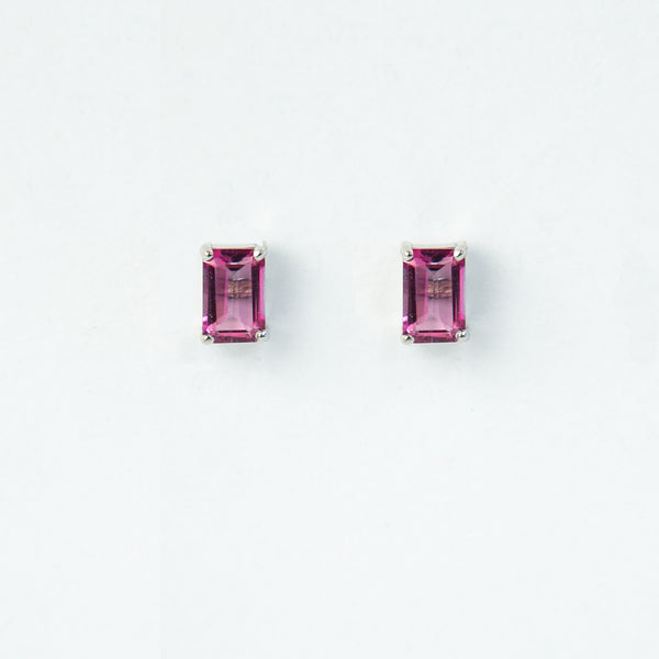Suzanne Kalan Bloom Rectangle 14K Rectangle Pink Topaz Gold Post Earrings