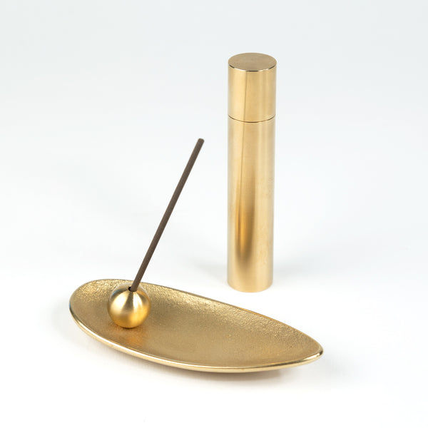 Brass Bamboo Leaf Incense Holder Set