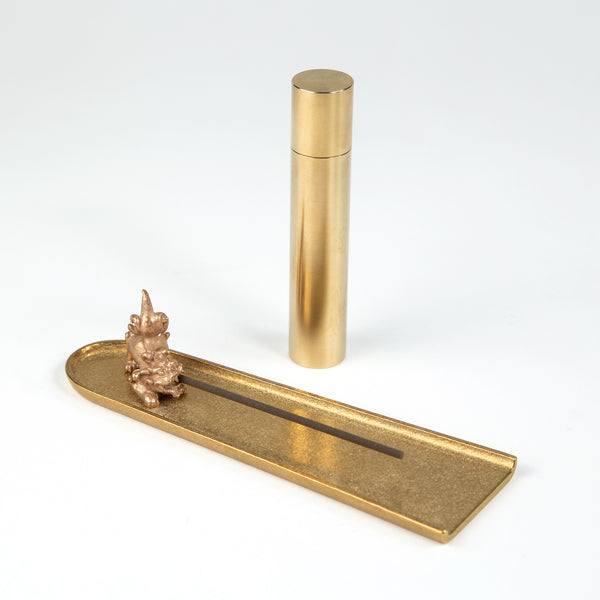 Brass Lion Incense Holder Set