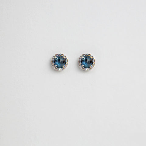 London Blue Topaz and Diamond Halo Earrings
