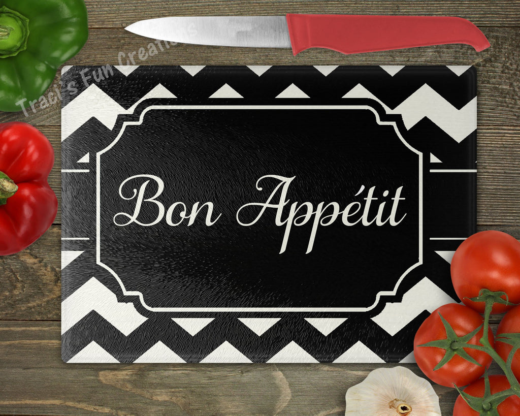 Bone Appetit Chevron Monogram Personalized Cutting Board