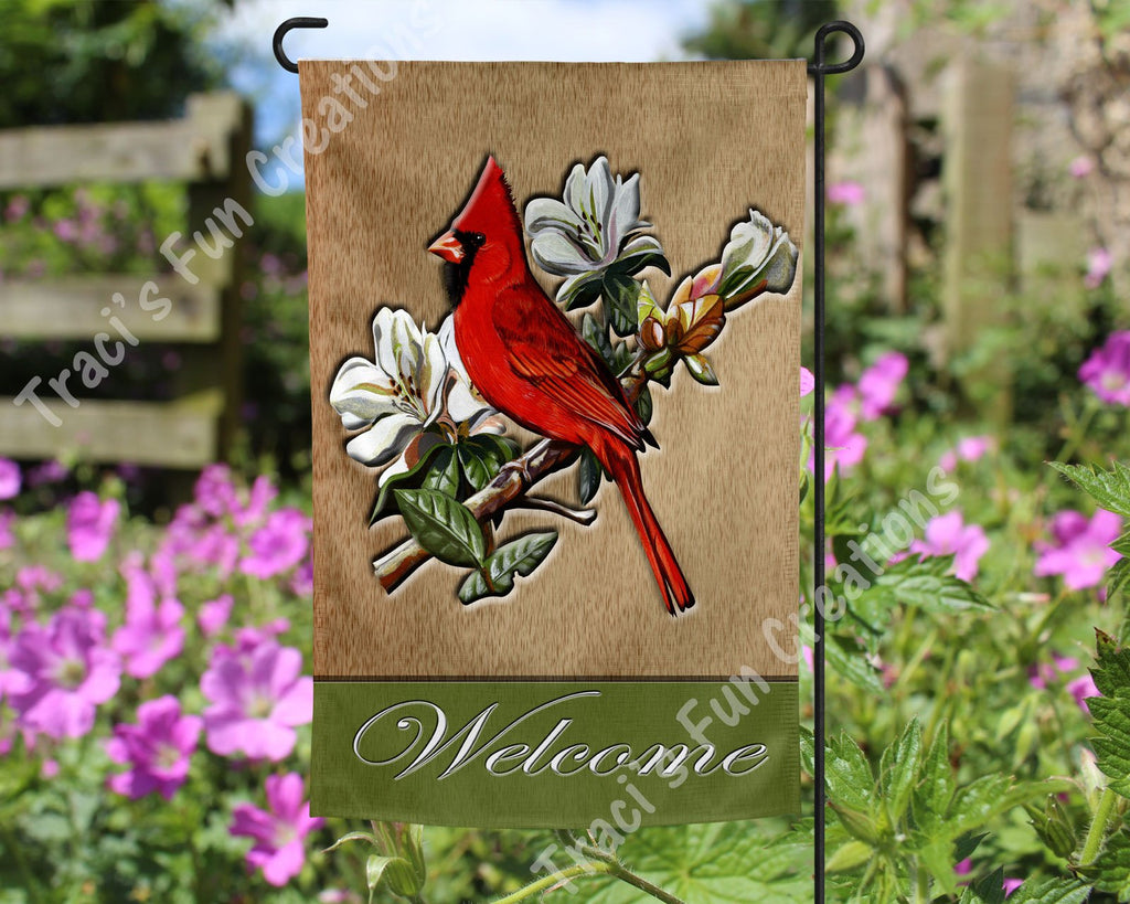 Cardinal Welcome Garden Flag