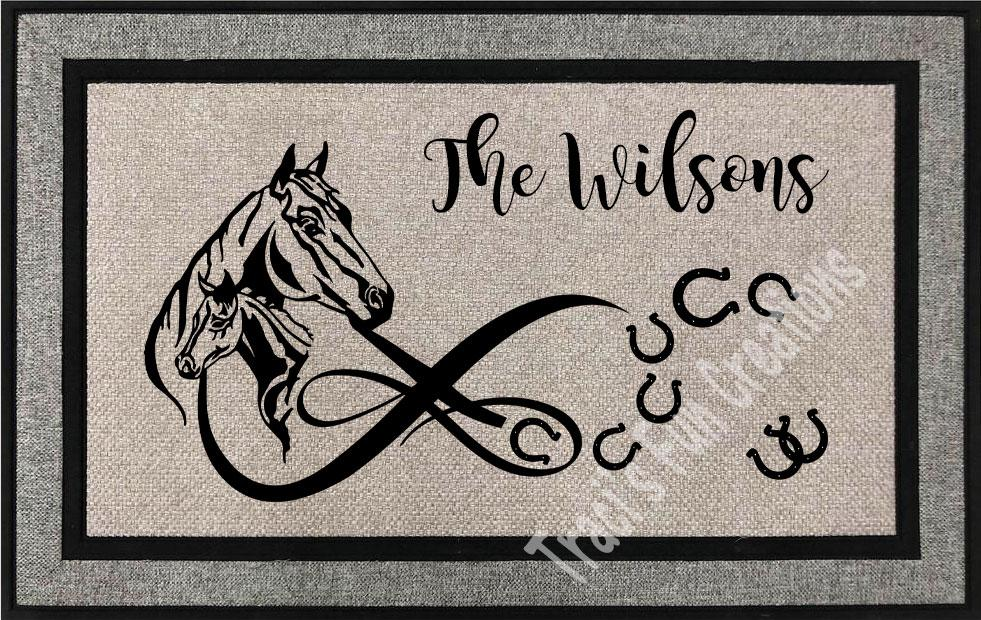 Horse and Foal Door Mat
