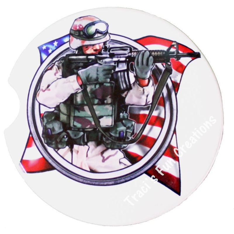 Soldier and US Flag Sandstone Car Coasters