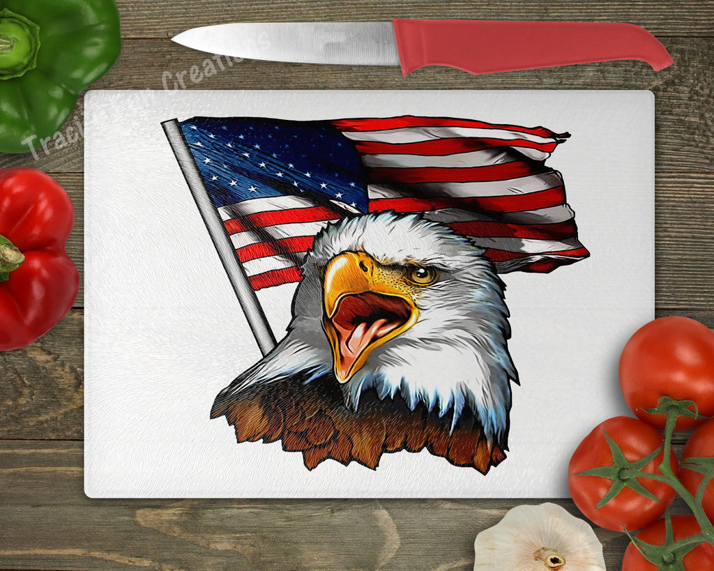 Patriotic Eagle with US Flag Personalized Cutting Board