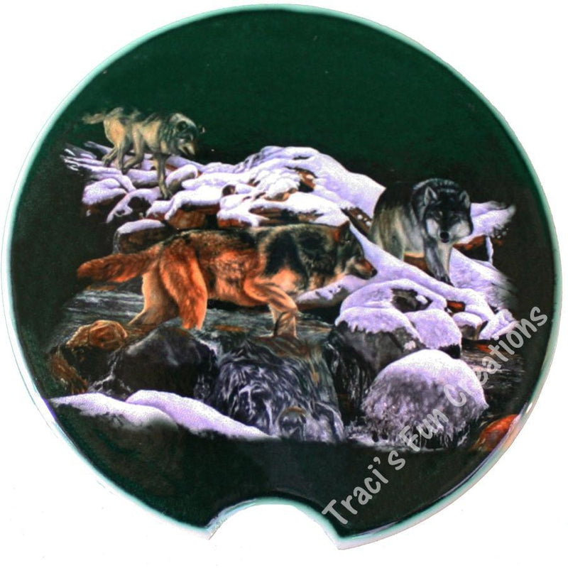 Wolf Pack Sandstone Car Coasters