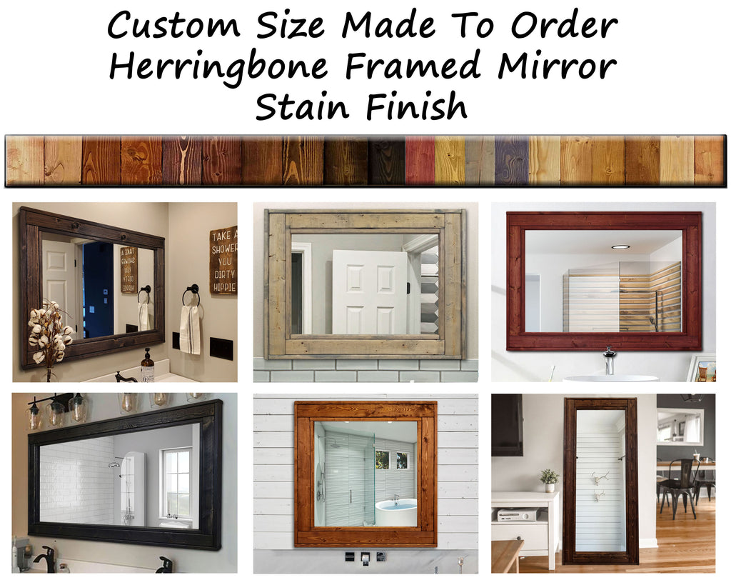 Custom Size Herringbone Reclaimed Wood Mirror - 20 Stain Colors