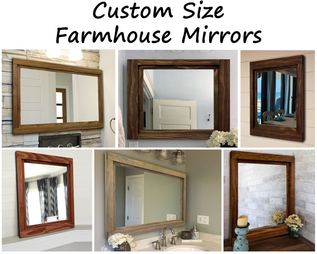 Custom Sized Farmhouse Rustic Wood Framed Mirror - 20 Stain Colors