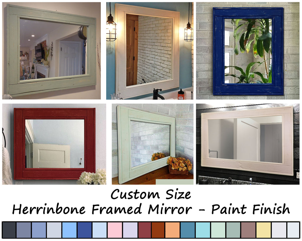 Custom Sized Herringbone Reclaimed Wood Framed Mirror, 20 Paint Colors