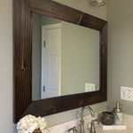 Custom Sized Shiplap Framed Mirror - 20 Stain Colors