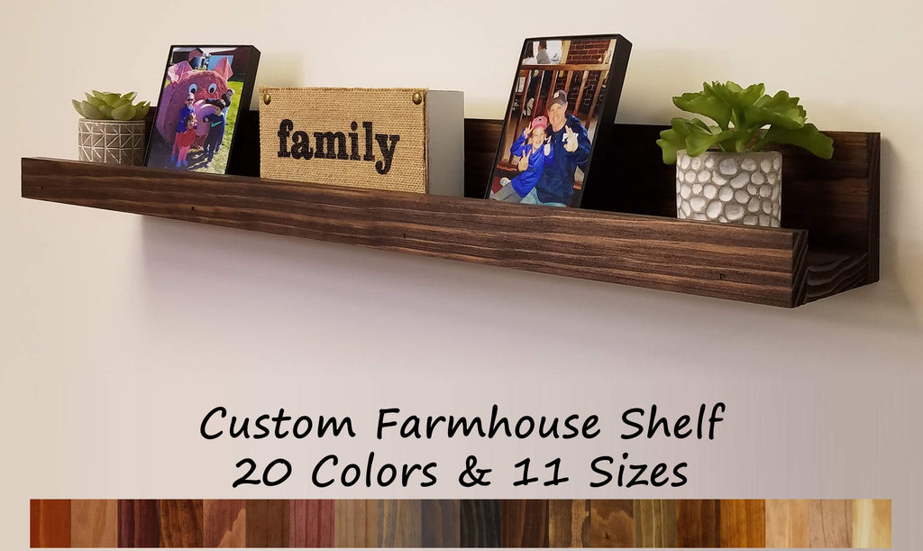 Farmhouse Rustic Wooden Picture Ledge Shelf, 20 Stain Colors - Renewed Decor & Storage