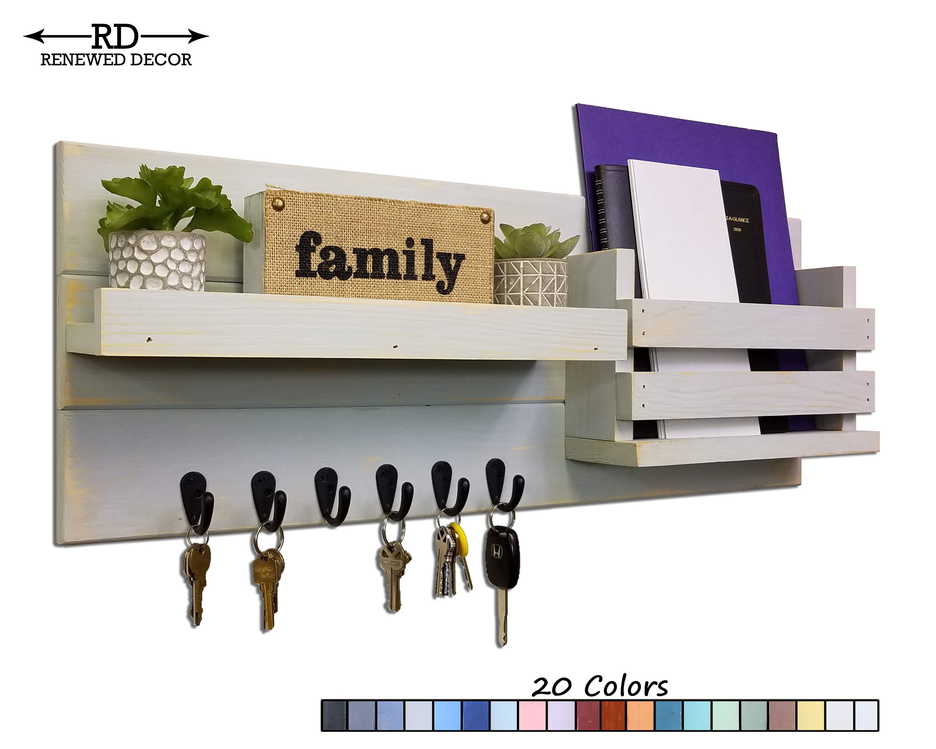 Greatland Wall Mounted Organizer - 20 Paint Colors - Renewed Decor & Storage