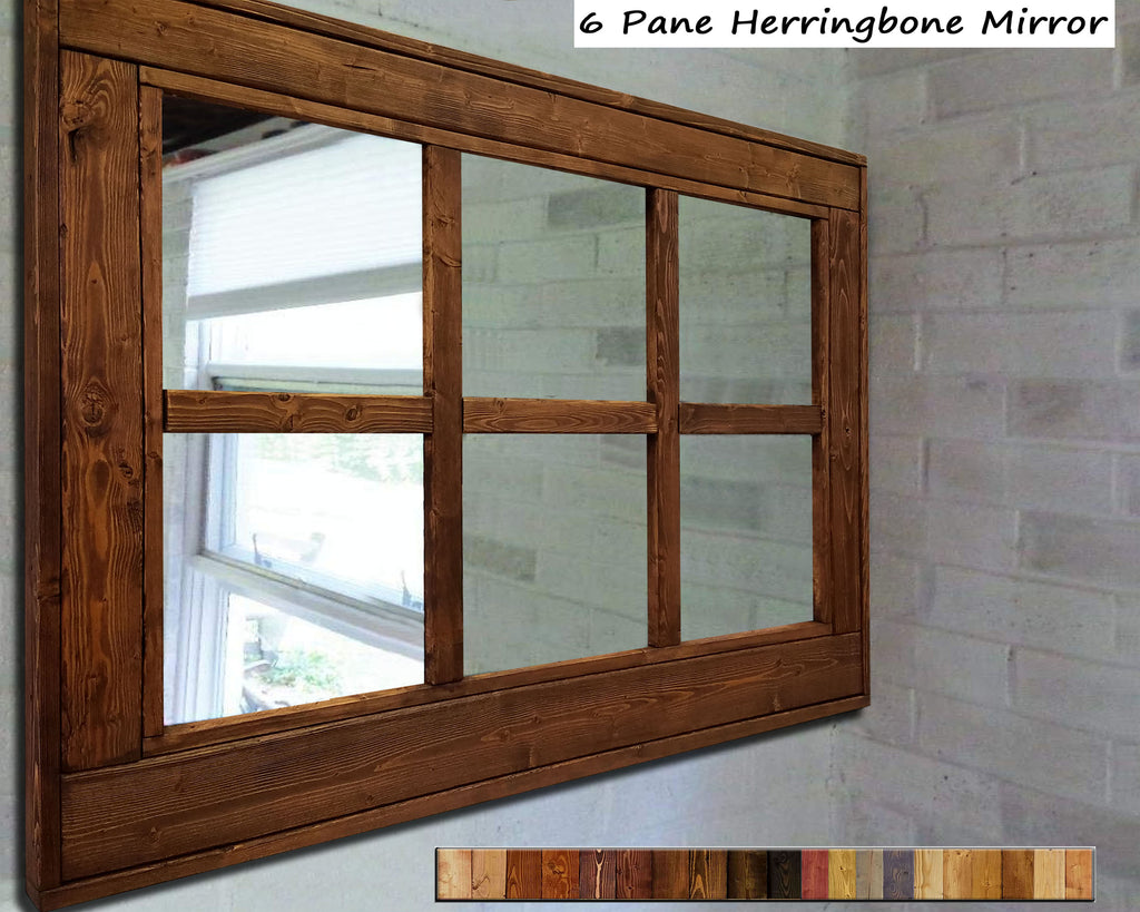 Herringbone 6 Pane Window Mirror, 20 Stain Colors