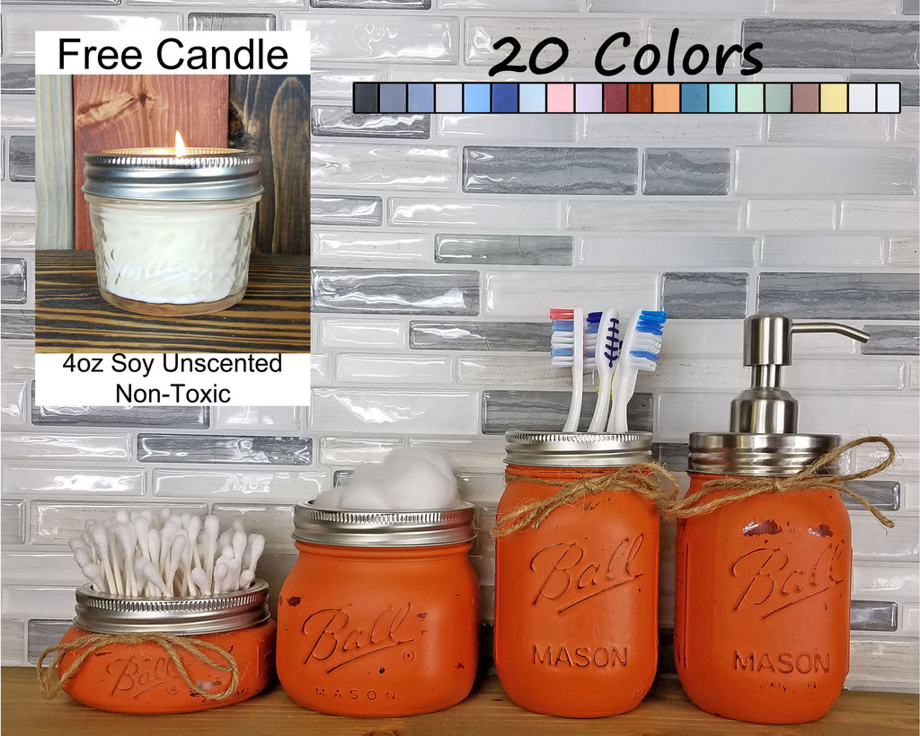 Custom Painted Mason Jar Bathroom Set, 20 Paint Colors - Renewed Decor & Storage