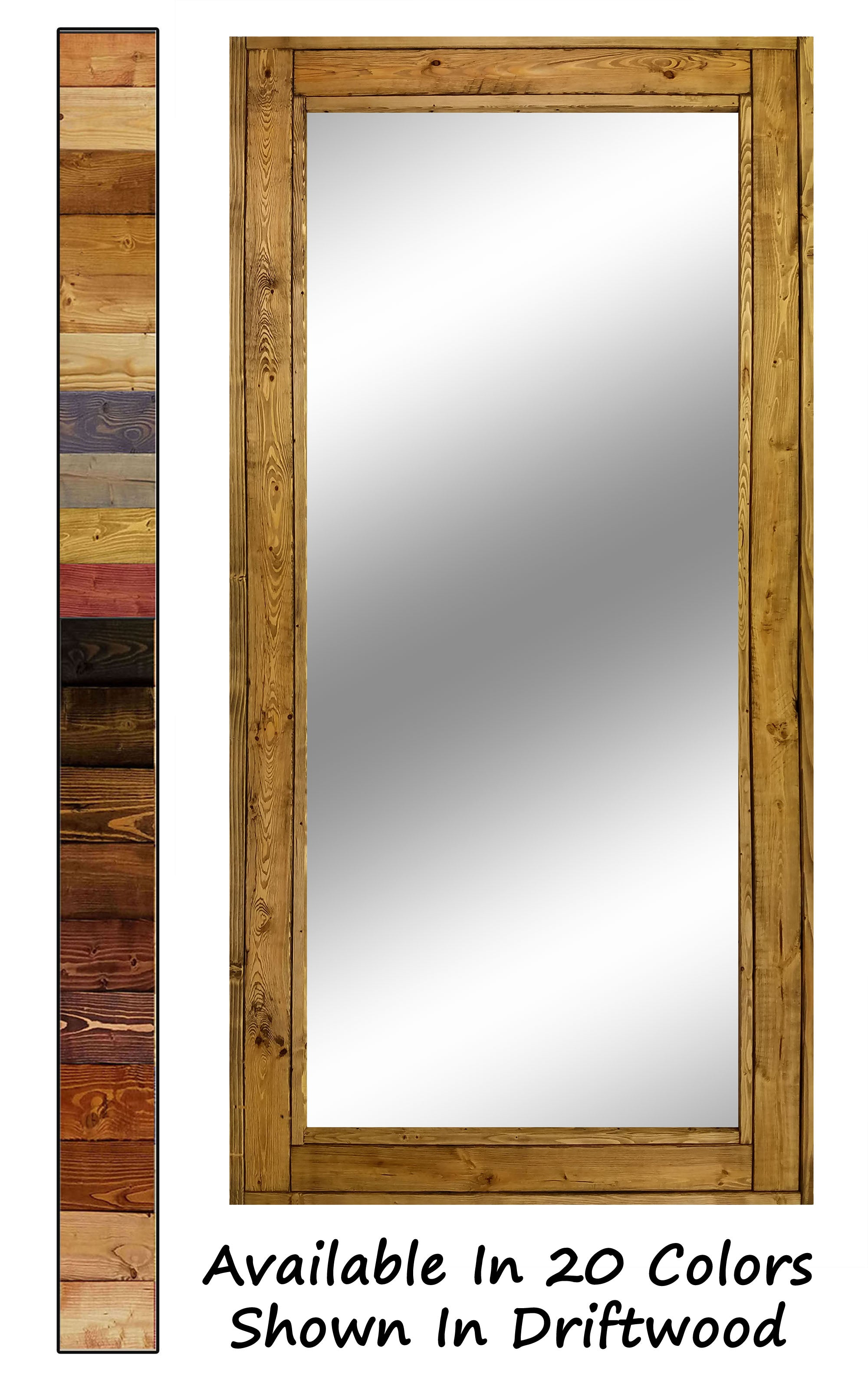 Herringbone Full Length Floor Mirror, 20 Stain Colors