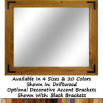 Accent Bracket Shiplap Rustic Wood Framed Mirror - 20 Stain Colors