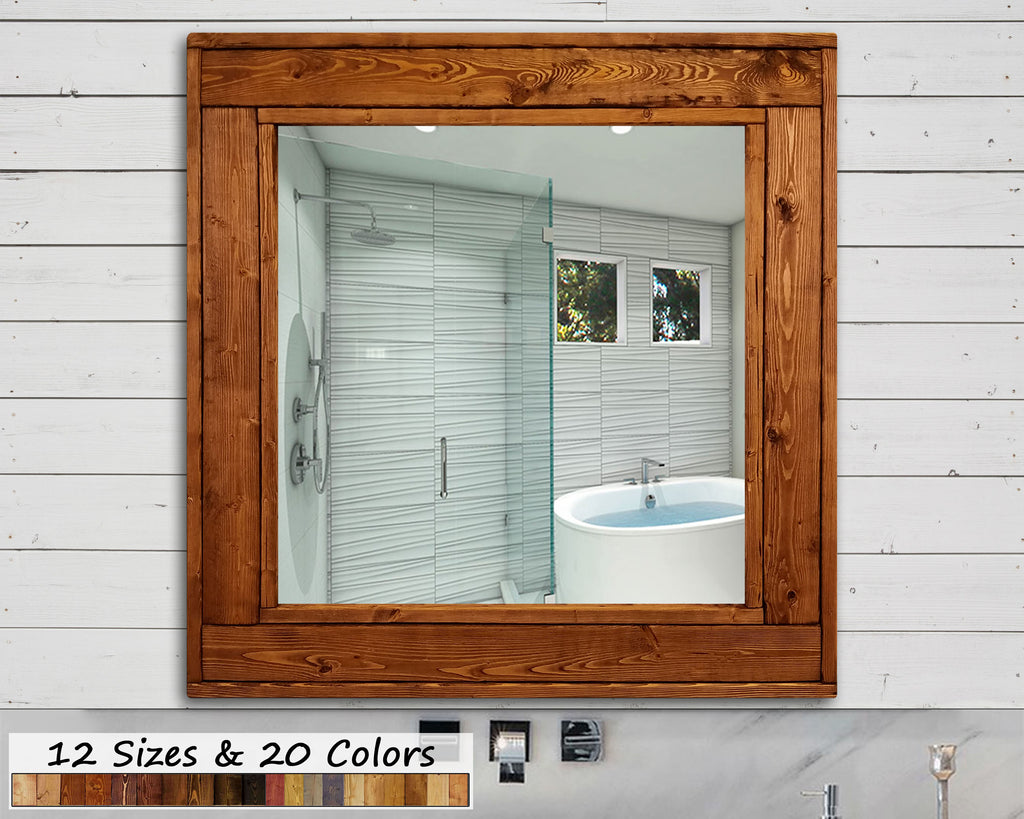 Custom Square Herringbone Framed Mirror - 20 Stain Colors