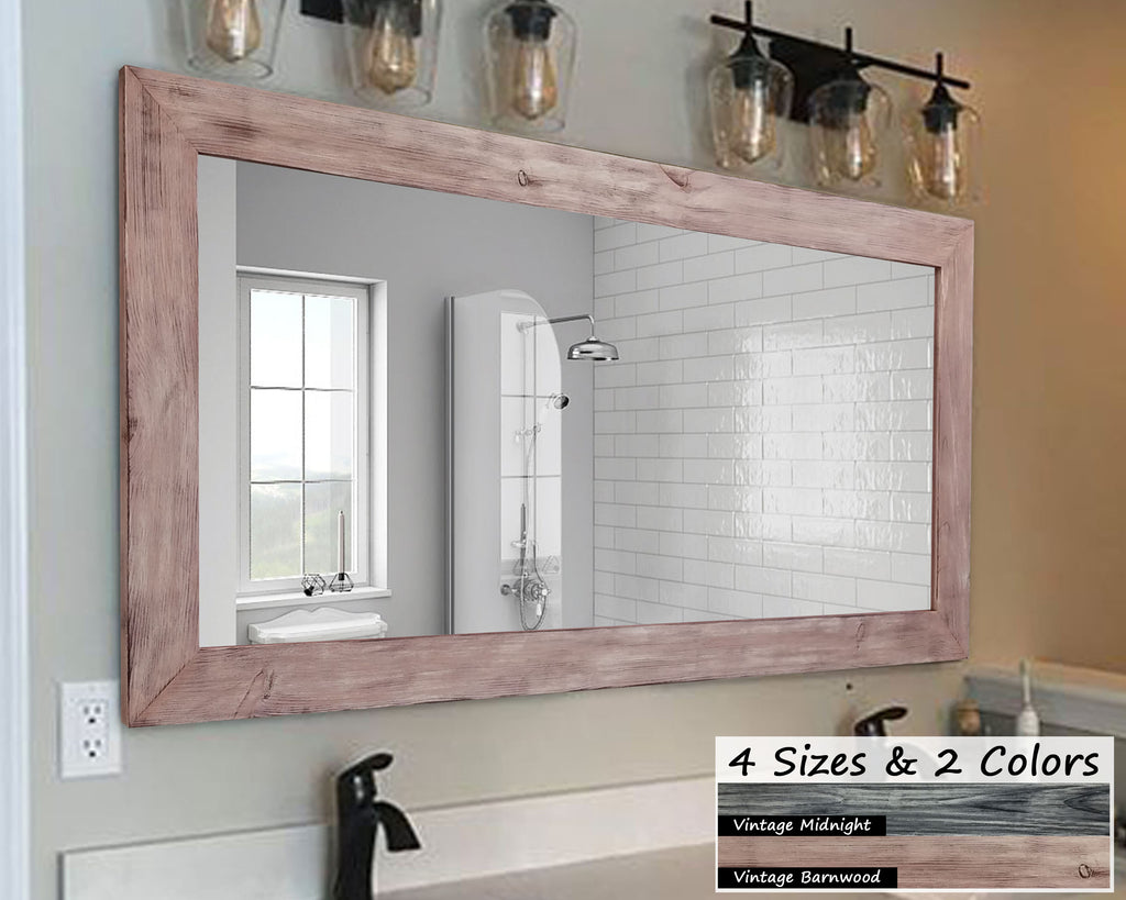 Shiplap Rusitc Wood Framed Mirror, 2 Vintage Finishes