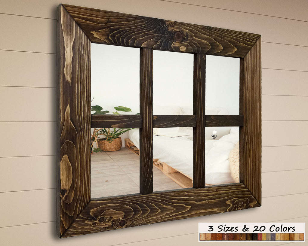 6 Pane Shiplap Framed Mirror, 20 Stain Colors