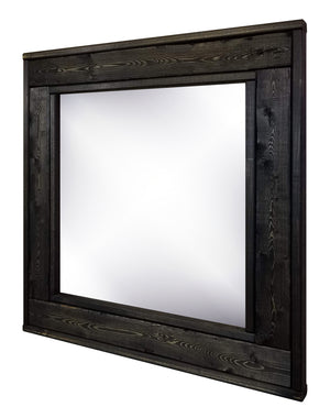 Custom Square Herringbone Framed Mirror - 20 Stain Colors - Renewed Decor & Storage