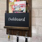 Chalkboard Front Sydney Mail Slot with Hooks, 20 Stain Colors