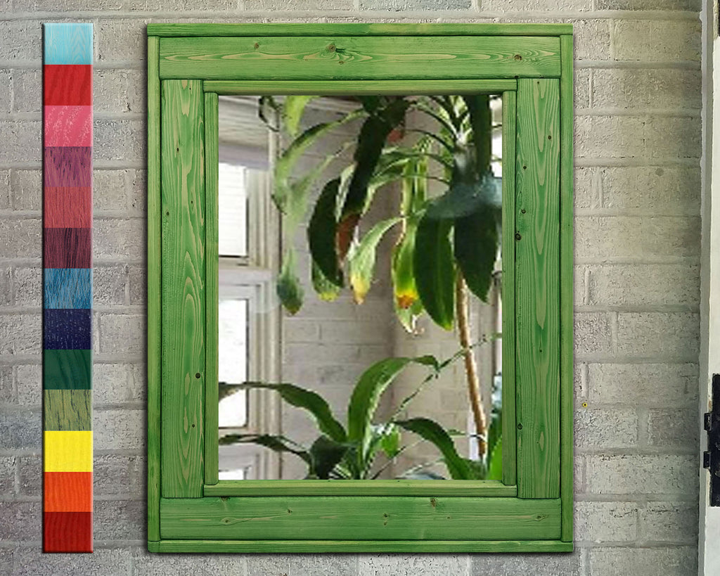 Herringbone Reclaimed Wood Mirror, 13 Colored Stains