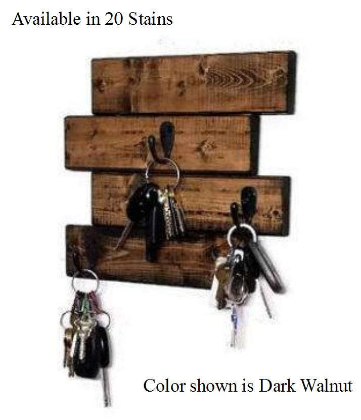 Tyson Wall Mounted Key Holder - 20 Stain Colors - Renewed Decor & Storage