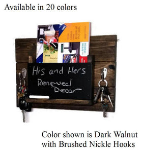 His & Hers Farmhouse Memo Chalkboard, Mail Organizer and Key Holder - 20 Stain Colors - Renewed Decor & Storage