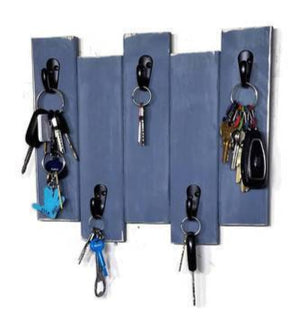 Sydney Key Rack Featuring 5 Hooks Available in 20 Colors Shown in Slate Gray - Renewed Decor & Storage