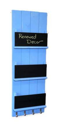 Sydney Paper, Magazine or Folder Organizer with Chalkboards Customize with up 4 key hooks, Available in 20 Colors Shown in Baby Boy Blue - Renewed Decor & Storage