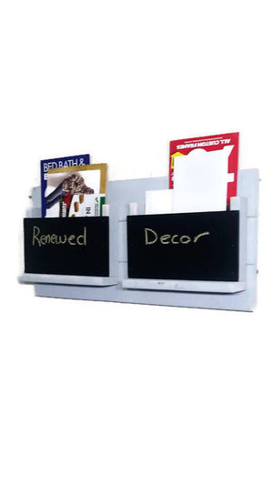 Chalkboard Front Classic Farmhouse Double Mail Bin Organizer - 20 Paint Colors - Renewed Decor & Storage