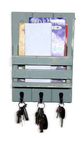 Sydney Slat Front, Mail Holder Organizer and Key Holder, Available with up to 3 Single Key Hooks – 20 Custom Colors: Shown in Avocado Green - Renewed Decor & Storage