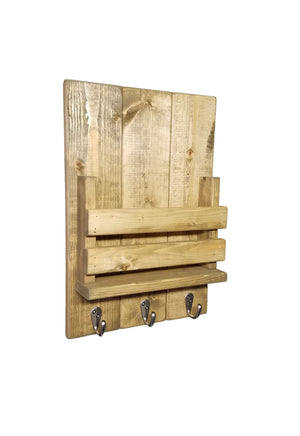 Sydney Slat Front, Mail Holder Organizer and Key Holder, Available with up to 3 Single Key Hooks – 20 Custom Colors: Shown in Driftwood - Renewed Decor & Storage