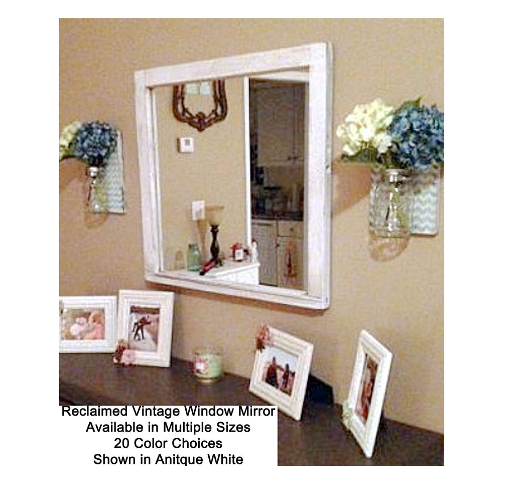 Rustic Country Window Mirror - Renewed Decor & Storage
