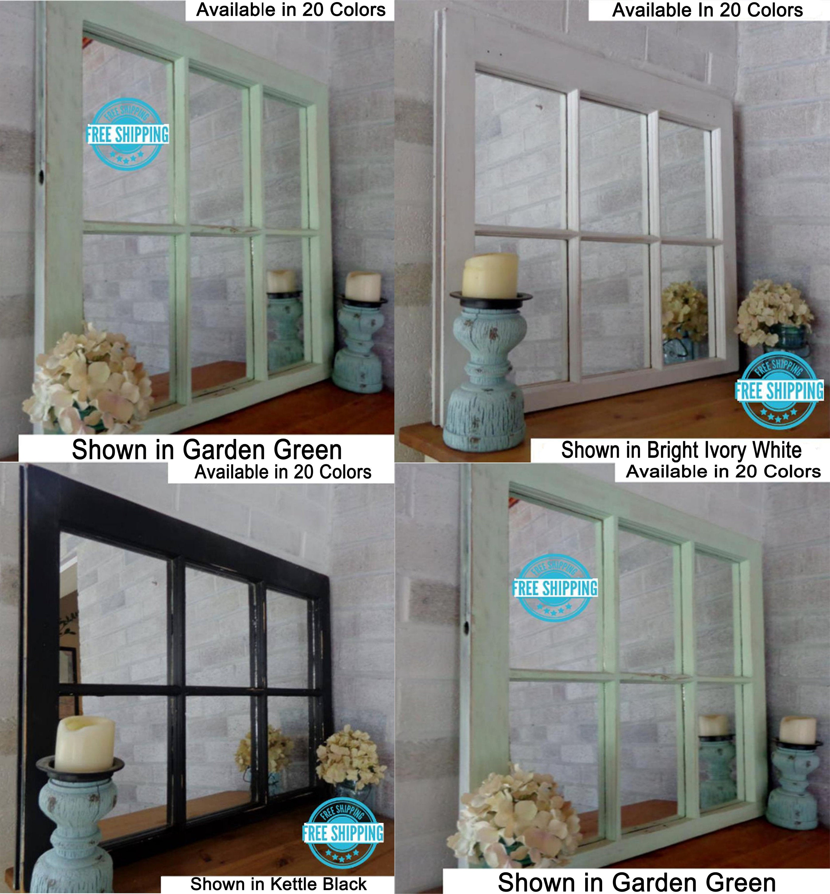 Mirror Wall Decor, Reclaimed Wood Window Mirror – 6 Pane Frame – Decorative Mirror – Vintage Mirror - Renewed Decor & Storage